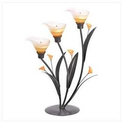Amber Lilies Flower Decorative Tealight Candle Holder