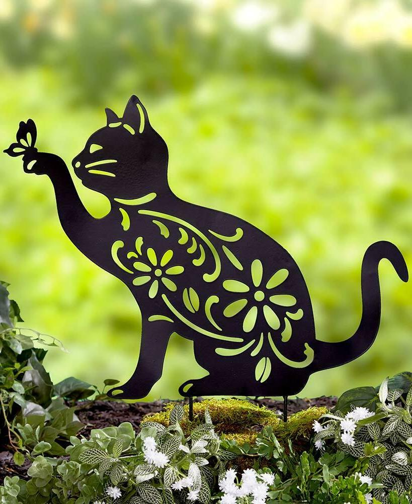 Cat Animal Butterfly Silhouette Garden Stake Yard Art Lawn O