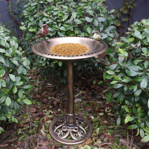 "Birdbath 28"" Height Pedestal Bird Bath Antique Outdoor Garde"