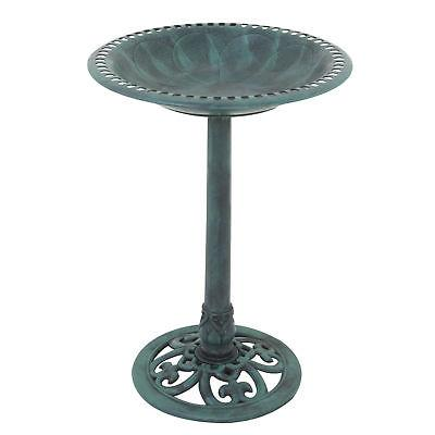 "28"" Green Pedestal Bird Bath Feeder Outdoor Garden Yard Deco"