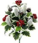 Artificial Faux Holly Leaves Berries Pine-cone Snow Christma