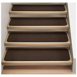 Set of 12 Attachable Indoor Carpet Stair Treads - Chocolate