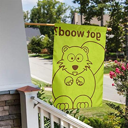 "BRENDA SMALL Beaver Wood Flag 12"" X 18"" House Yard & Outdoor Seasonal Sweet Polyester Premium Assortment"