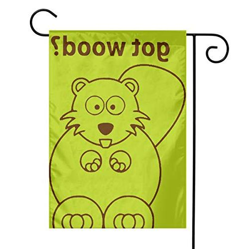 beaver wants wood garden flag