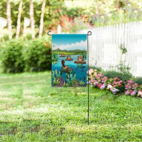 InterestPrint Beavers Polyester Garden Decorative Party Yard Outdoor Decor