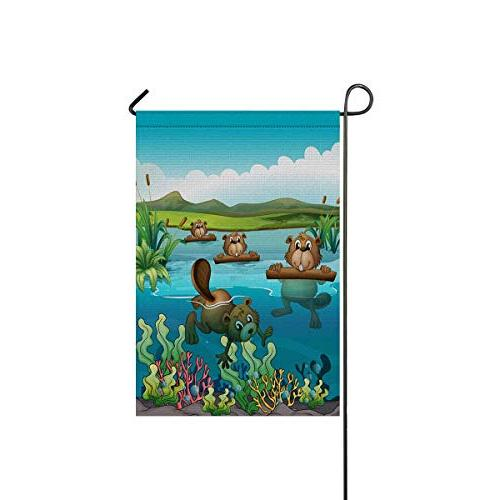 beavers animal polyester garden flag