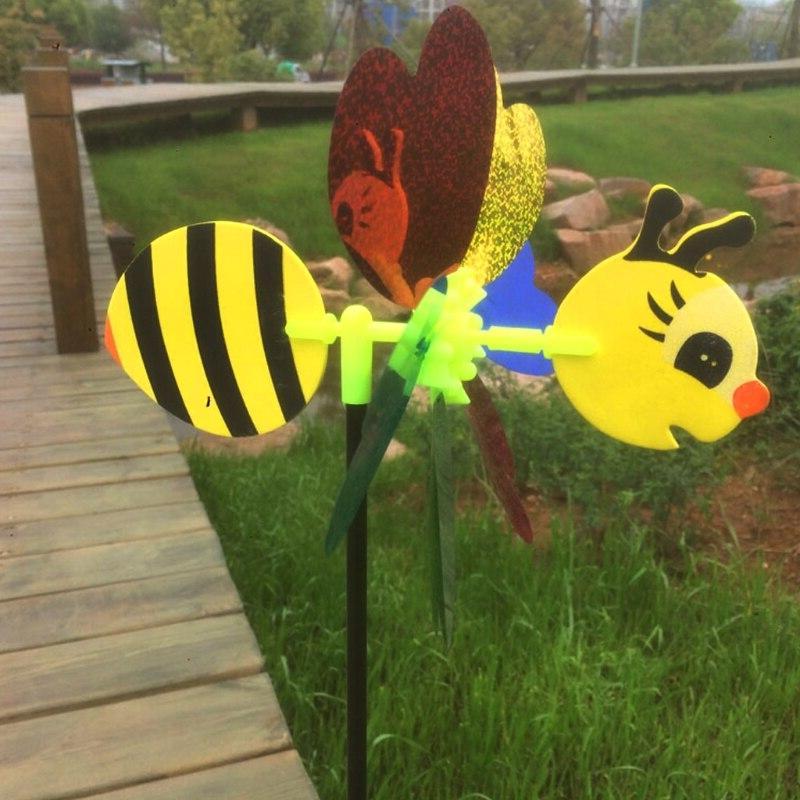 Bee 3D Pinwheel Spinner Toys Garden <font><b>Decor</b></font> Outdoor Lawn <font><b>Decor</b></font> Random