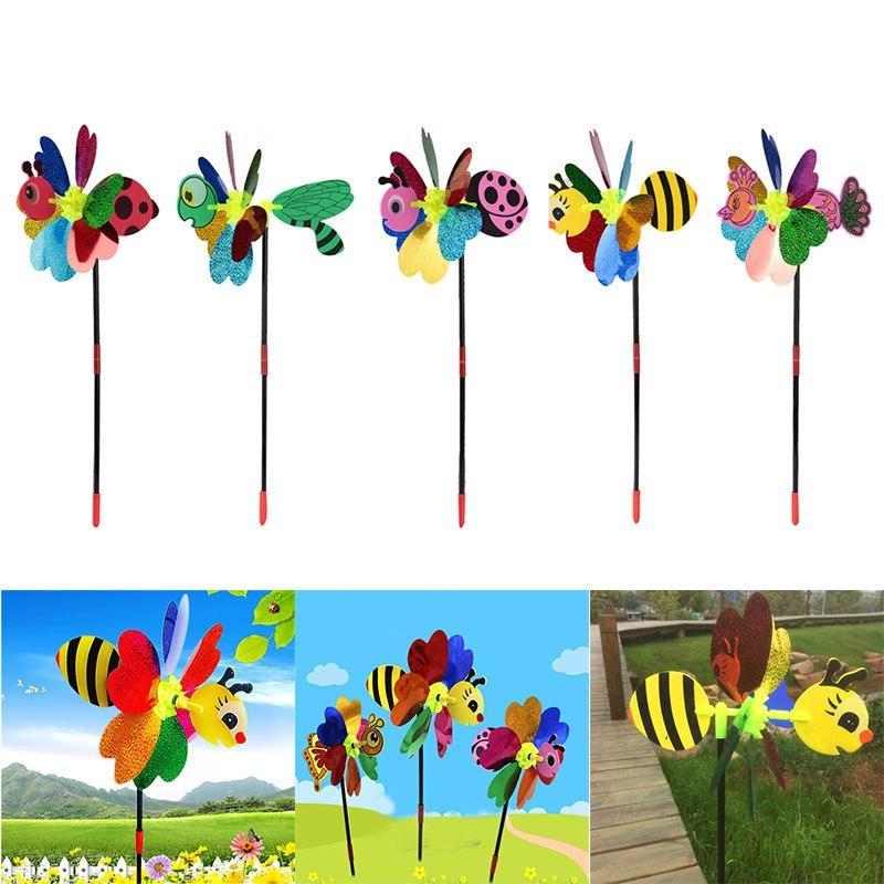 Bee Windmill 3D Pinwheel Spinner Garden Outdoor <font><b>Decor</b></font>