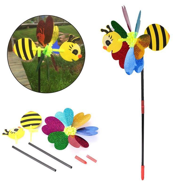 Bee Windmill 3D Spinner Whirligig Toys Garden