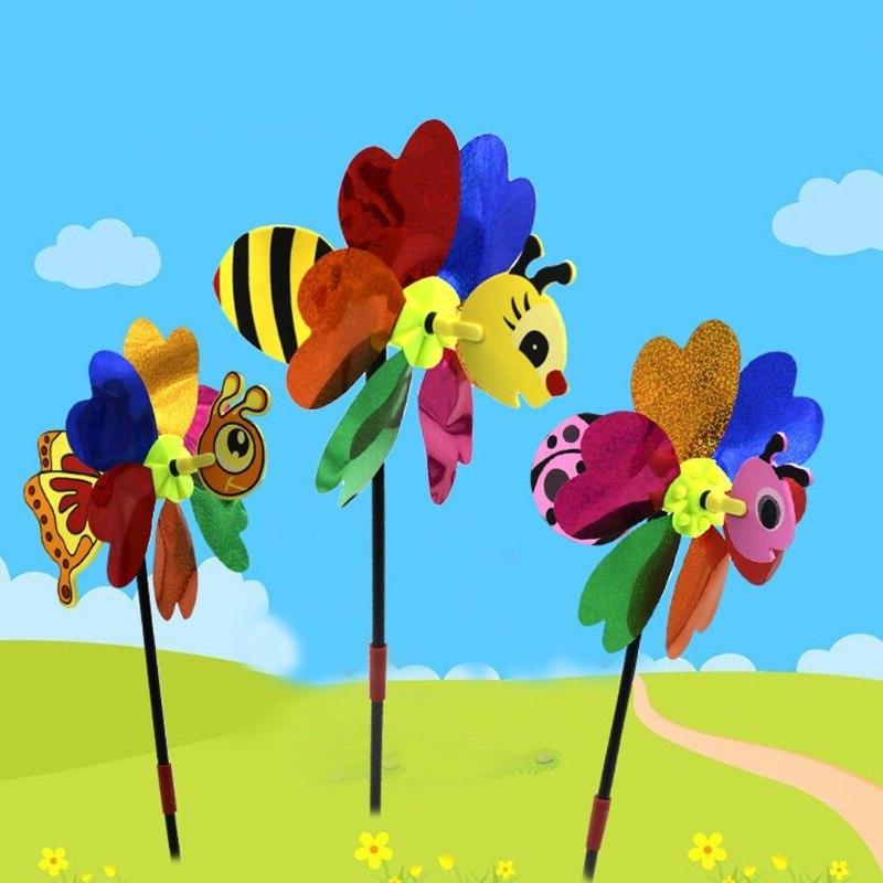 Bee Cute 3D Pinwheel Wind Spinner Whirligig <font><b>Yard</b></font> Garden <font><b>Decor</b></font> Outdoor <font><b>Decor</b></font> Random