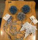 Blue And Silver Christmas Decorations NEW Beaded Garland And