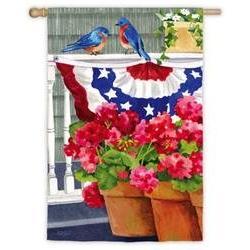 Bluebird Bunting And Geraniums House Flag