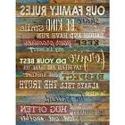 Family Rules Wall Art Sign Decor Brown Wood Home Decor For A