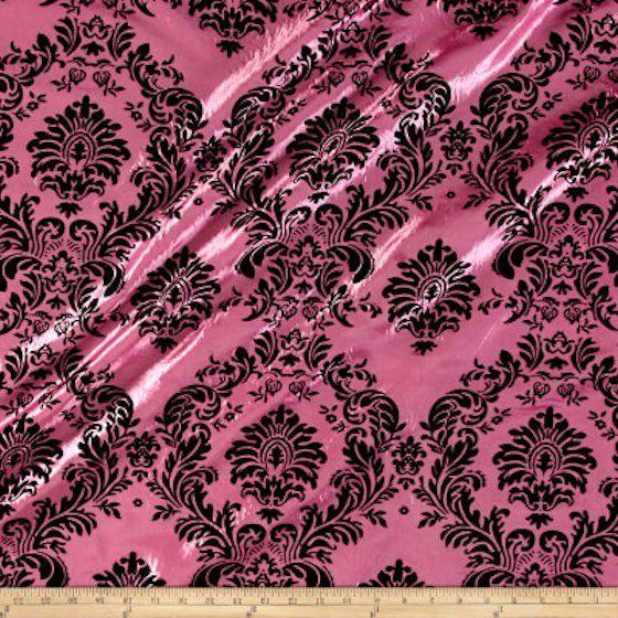 bty yard candy pink black flocking damask