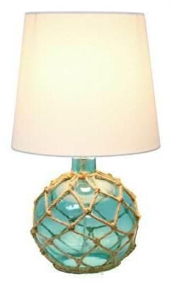 Buoy Rope Nautical Netted Coastal Glass Table Lamp in Aqua