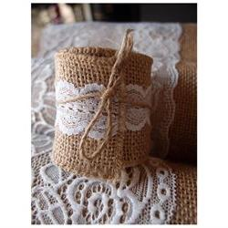 Burlap and Lace Style No.4 Fabric Wrap Roll