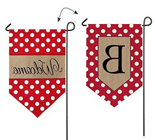 Evergreen Burlap Polka-Dot Welcome Monogram B Garden Flag 12