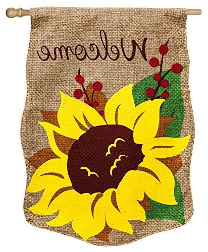 burlap welcome sunflower house