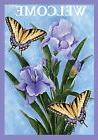 """Butterflies & Irises Spring House Flag Welcome Floral 28"""" x"""