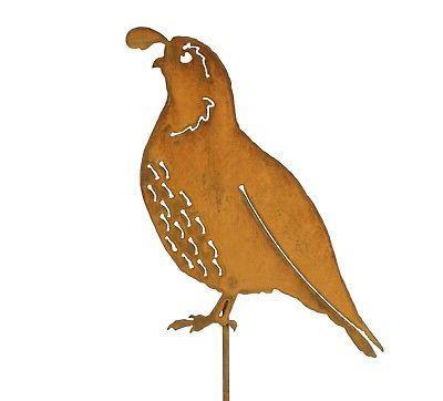 california quail garden stake metal quail bird