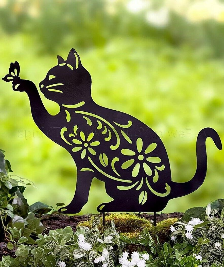 cat animal silhouette garden stake yard art
