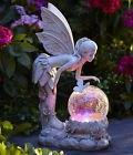Solar Light Globe Fairy Statue Color Changing Angel Garden P