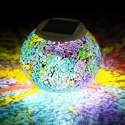 Pandawill Color Changing Solar Powered Glass Ball Led Garden