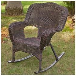 Chelsea Wicker Resin Outdoor Rocking Chair , Antique Pecan