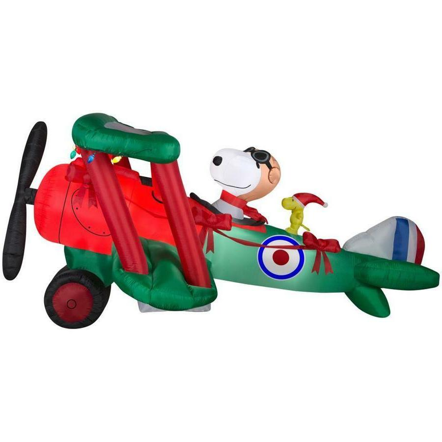 CHRISTMAS 12' WIDE AIRBLOWN INFLATABLE PEANUTS SNOOPY AIRPLA