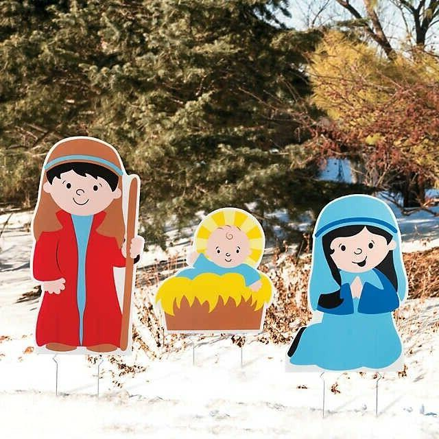 Christmas Decoration Holy Family Nativity Yard Signs 3PCS Ou
