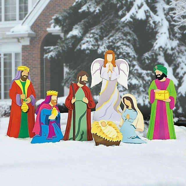 Christmas Decorations Nativity Scene Yard Stakes 7pc Set Out
