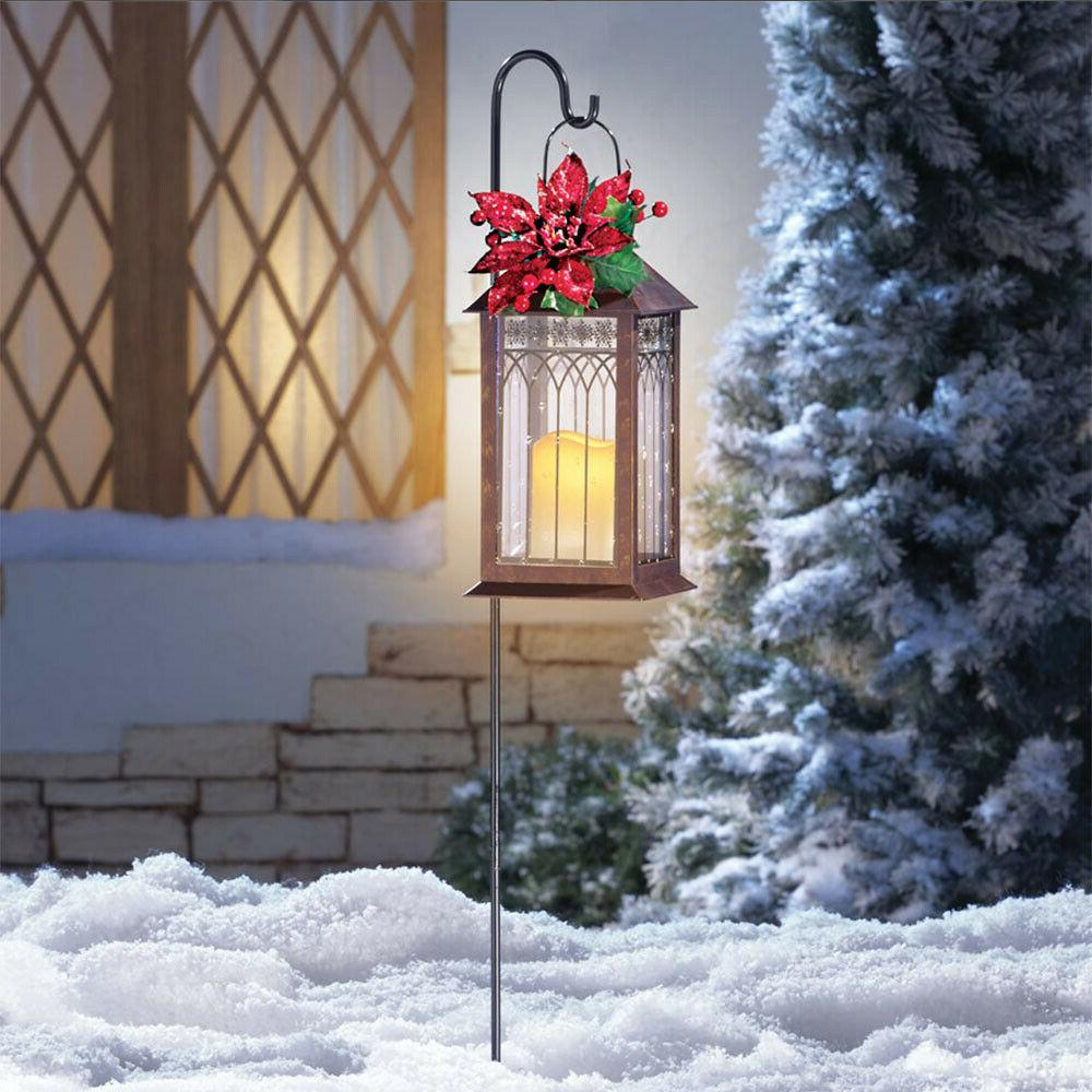 Outdoor Solar Lighted Lantern Christmas Hanging Light Yard L