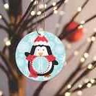 Christmas Ornament Blue Background Penguin Personalized 1 Le