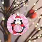 Christmas Ornament Pink Background Penguin Personalized 1 Le