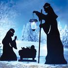 Outdoor Nativity Scene Stakes 3Pc Christmas Solar Lights Yar