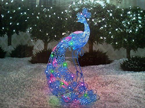 Christmas Peacock Lights Outdoor Sculpture Decor