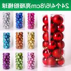 24pcs Christmas Tree Baubles Plain Glitter DIY Decoration Xm