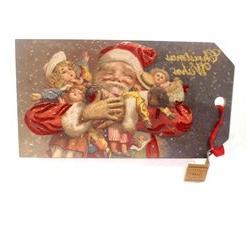 Christmas Christmas Wish Vintage Tag Jumbo Santa Dolls, 11.0