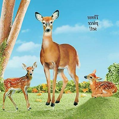 Collections Etc Family of Deer Realistic Garden Stakes Set,