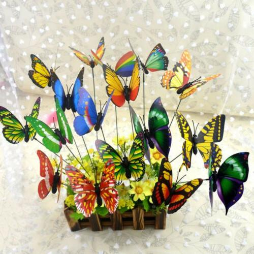 colorful 3d plastic butterfly on a stick