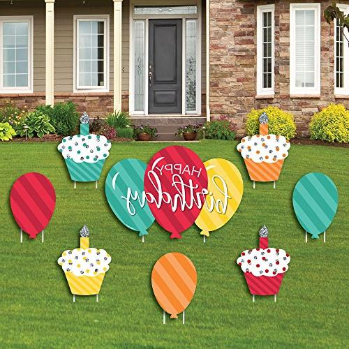 Colorful Happy Birthday - Cupcake & Balloon Yard Sign & Outd