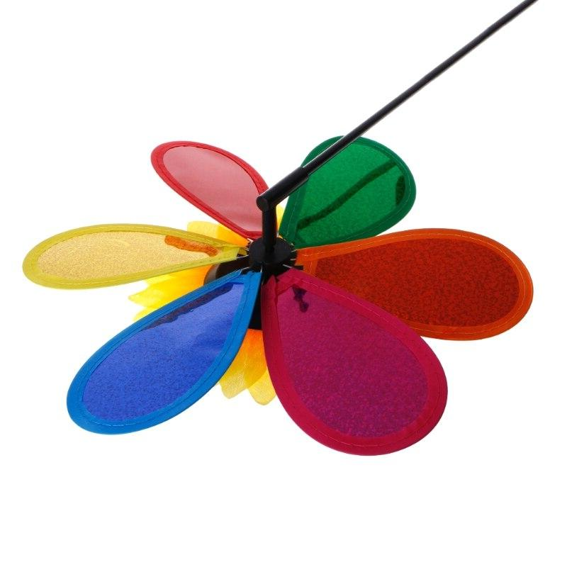 Colorful Sequins Sunflower Windmill Wind Spinner Home Garden