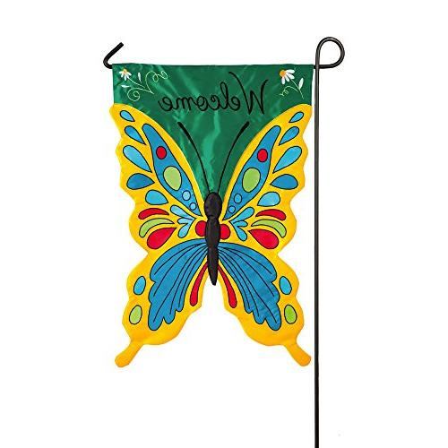 colorful welcome sculpted butterfly applique