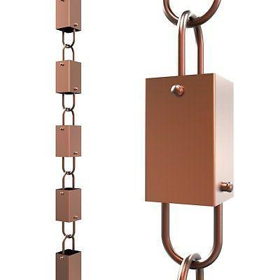 Copper Square Link Rain Chain By Rain Chains Direct