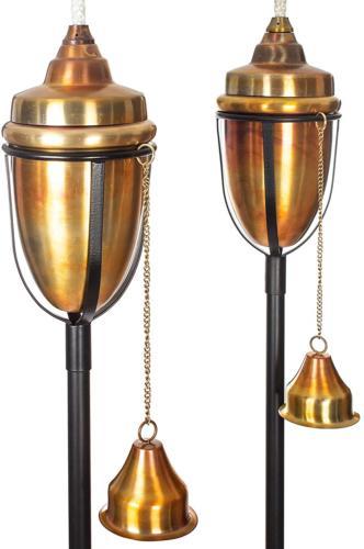 H Potter Copper Torches Rustic Patio Outdoor Garden Torch Se