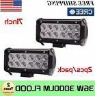 2x 7INCH 36W CREE LED WORK LIGHT BAR FLOOD OFFROAD 4WD BOAT