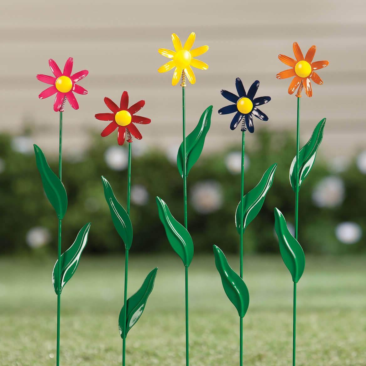 Daisy Garden Stake Set of 5 Metal Flower Yard Art Outdoor Pl