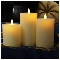 smtyle Dancing Flame Wax Flat Top Pillar Candle with Timer,