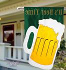 "It's Beer Time house flag 28""X44"" applique beer flag happy h"