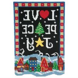 Craftways December Banner-Love, Peace, Joy Plastic Canvas Ki